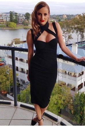 Sexy Black Bandage Dress Cocktail Party Dresses TCDTB6215