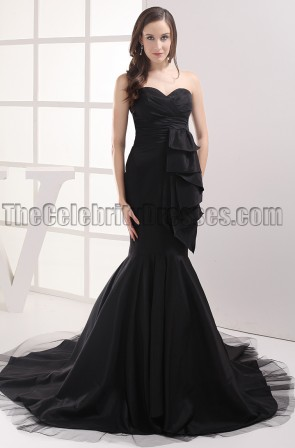 Black Strapless Mermaid Formal Dress Evening Prom Gowns