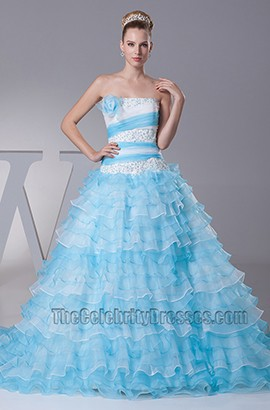 Blue And White Strapless Ball Gown Quinceanera Dress