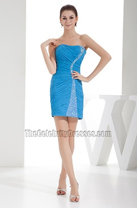 Blue Mini Strapless Beaded Party Homecoming Dresses