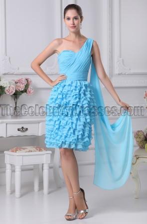 Blue One Shoulder Graduation Party Homecoming Dresses