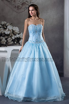 Blue Strapless A-Line Organza Quinceanera Formal Dresses