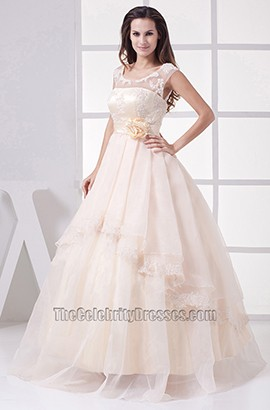 Promi inspiriert A-Line bodenlangen Tüll Organza Brautkleid