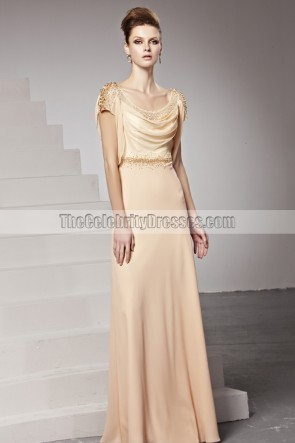 Celebrity Inspired Backless Drop Neckline Evening Prom Dresses