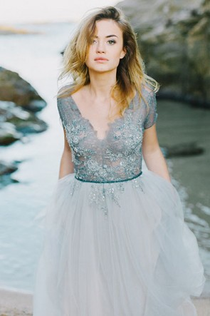 Berühmtheit Inspired Beach Hochzeitskleid Abend Prom Gown