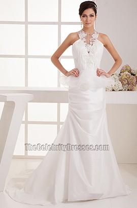 Promi-inspirierter Kapellenzug A-Line Brautkleid