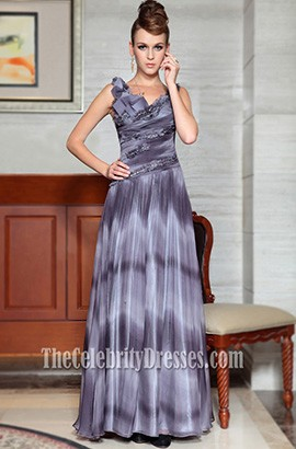 Celebrity Inspired Gray Evening Dress Prom Gowns