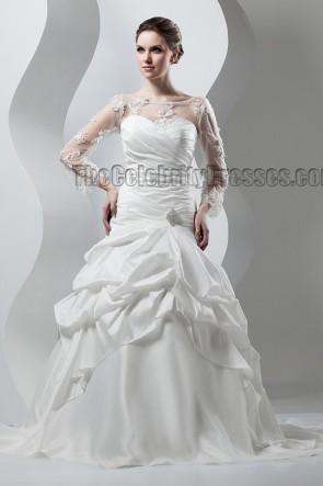 Celebrity Inspired Long Sleeve A-Line Wedding Dresses