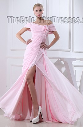 Celebrity Inspired Pink Off-the-Shoulder Formal Dress Prom Evening Gown