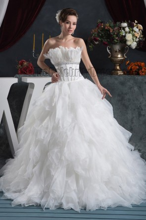 Celebrity Inspired Strapless A-Line Chapel Train Wedding Dresses