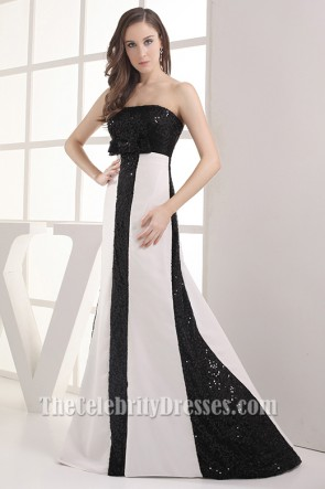 White and Black Strapless Formal Gown Prom Dress