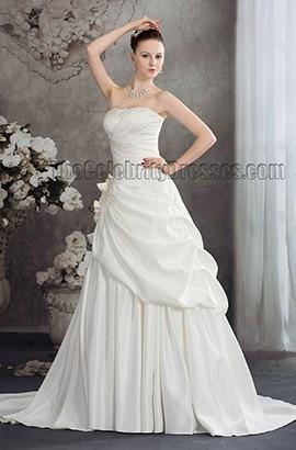 Celebrity Inspired Strapless Taffeta Chapel Train Wedding Dress