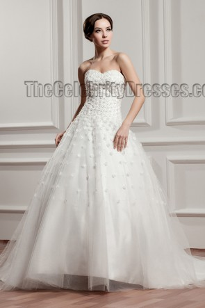 Celebrity Inspired Sweetheart Strapless A-Line Beaded Wedding Dress