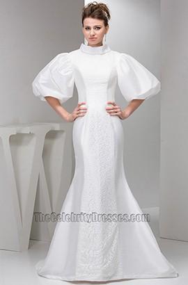 Promi inspirierte Trompete Meerjungfrau Taft Spitze Brautkleid