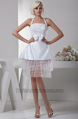 Celebrity Inspired White Short Halter Party Homecoming Dresses
