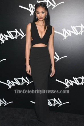 Chanel Iman sexy rückenfreies schwarzes ausgeschnittenes Abendkleid