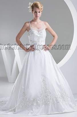 Chapel Train Embroidered Spaghetti Straps A-Line Beaded Wedding Dress