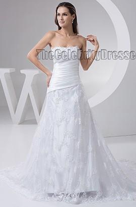 Chapel Train Lace A-Line Strapless Wedding Dress Bridal Gown