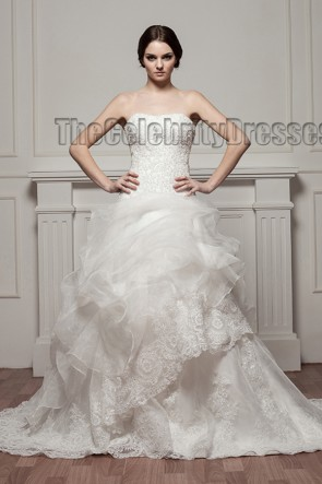 Chapel Train Strapless Embroidered Wedding Dresses