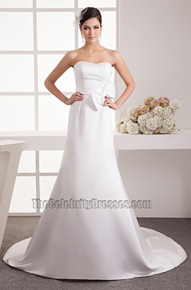 A-Line Chapel Train Strapless Sweetheart Satin Wedding Dresses