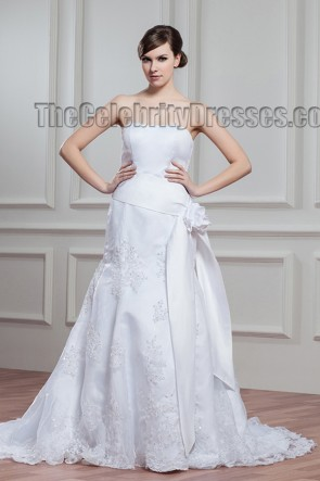 Chapel Train White A-Line Strapless Embroidered Wedding Dress