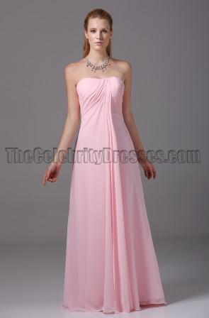 Rabatt rosa trägerlose Brautjungfer Ballkleid