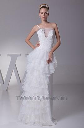 Chic Asymmetric One Strap Floor Length Wedding Dress
