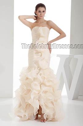 Chic Champagne Strapless Floor Length Ruffles Wedding Dress