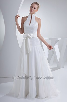 Chic High Neck A-Line Full Length Taffeta Wedding Dress