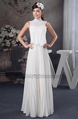 Schickes hochgeschlossenes Chiffon bodenlanges informelles Brautkleid