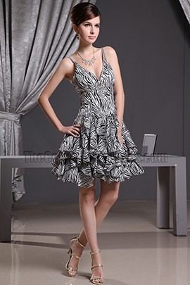 Leopard A-Line V-neck Cocktail Dress Party Homecoming Dresses