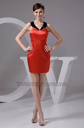 Chic Short / Mini Red And Black Party Homecoming Dress