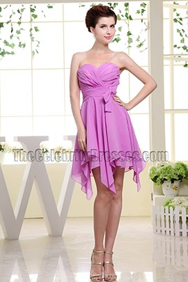 Chic Strapless Sweetheart Chiffon Cocktail Dress Homecoming Party Dresses
