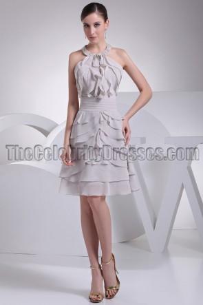 Silver Short Chiffon Halter Homecoming Party Dresses