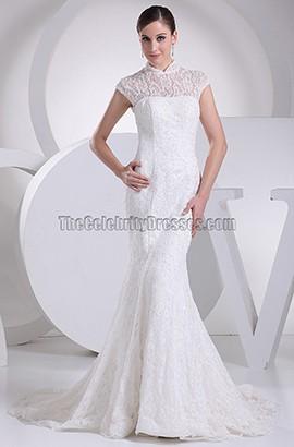 Klassisches hochgeschlossenes Meerjungfrau-Brautkleid aus Spitze