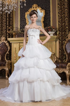 Classic Strapless Ball Gown Chapel Train Wedding Dresses
