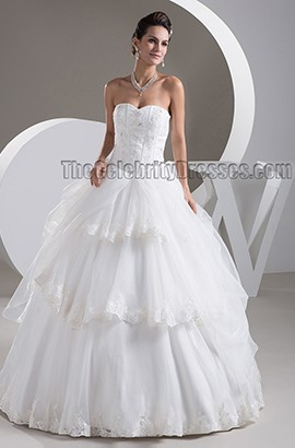 Classic Strapless Sweetheart Ball Gown Floor Length Wedding Dresses