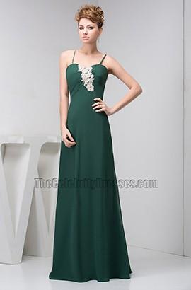Dark Green Spaghetti Straps Prom Bridesmaid Dresses