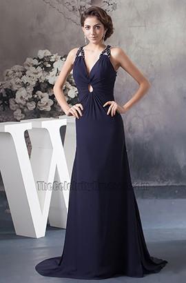 Dark Navy Backless Chiffon Evening Dress Formal Prom Gown
