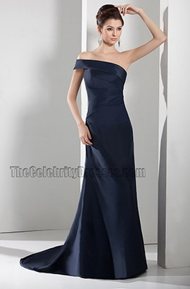 Dark Navy One Shoulder Formal Gown Evening Prom Dresses