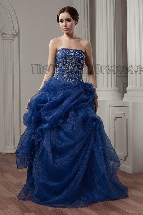 Dark Royal Blue Strapless Embroidered A-Line Formal Evening Dresses