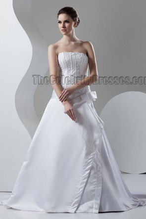 Discount Chapel Train A-Line Strapless Beaded Wedding Dresses