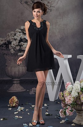 Discount Short Mini Black Chiffon Party Homecoming Dresses