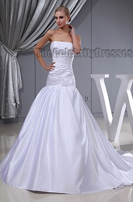 Discount Strapless A-Line Chapel Train Wedding Dresses