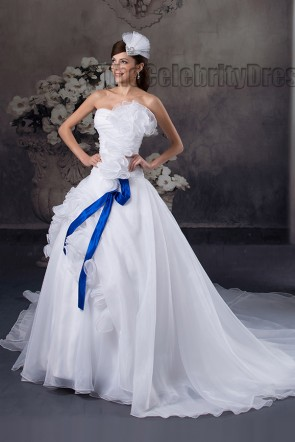 Discount Strapless A-Line Organza Chapel Train Wedding Dresses