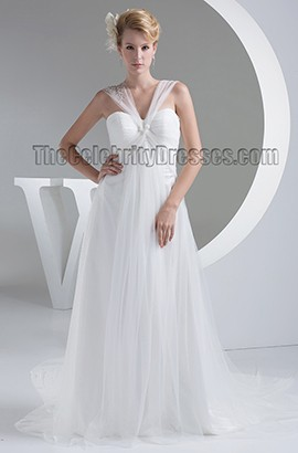 Discount Tulle A-Line Chapel Train Informal Wedding Dress