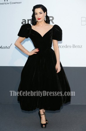 Dita Von Teese Black Prom Dress amfAR Cinema Against AIDS Gala