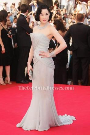 Dita Von Teese Silber Festliches Kleid Cannes Ozean dreizehn Premiere Roter Teppich TCD6132