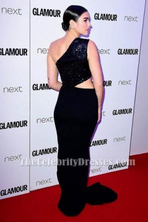 Dua Lipa Schwarz Ausschnitt Abendkleid 2017 Glamour Frauen des Jahres Awards