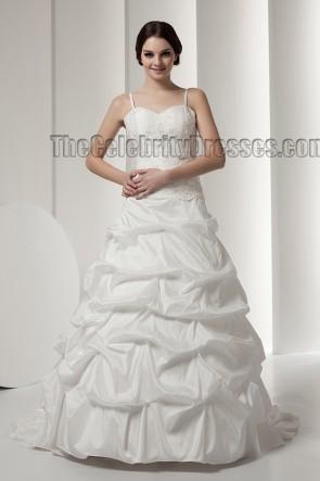 Elegant A-Line Spaghetti Straps Chapel Train Wedding Dresses
